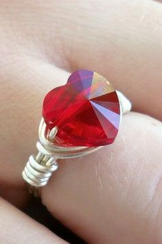 Valentine's Day Wire Wrapped Ring with Swarovski Siam Red Heart Crystal 10mm Bead