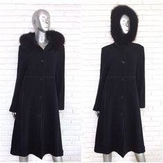 afd0903ae STEVE BY SEARLE BLACK WOOL CASHMERE BLEND COAT WITH FOX Fur Trim HOOD SZ  10/12
