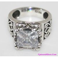 Silpada Artisan Jewelry Uptown Size 7 Cubic Zirconia 925 Sterli..