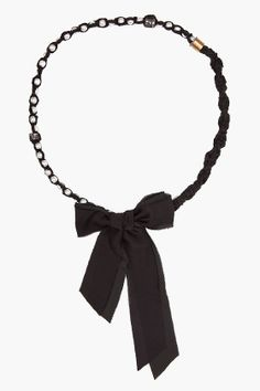 LANVIN //  LONG PEARL AND FABRIC NECKLACE