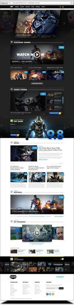 Gametrailers redesign concept by Tom Wozniak, via Behance