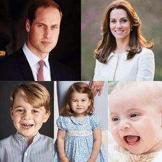 Composite photos of the Cambridge family. Top: Prince William, Duke of Cambridge and Kate, Duchess of Cambridge. Bottom: Prince George, Princess Charlotte, and Prince Louis of Cambridge.