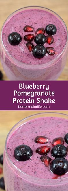 This blueberry pomegranate protein shake is packed with antioxidants and anti-inflammatory nutrients. Find the recipe on BetterMeforLife.com | protein shake recipes | protein shakes | healthy protein shakes | protein shakes for weight loss | protein shake recipes weight loss | protein shake recipes diet #proteinshakes #proteinshakerecipes #proteinpowder #proteinshake #protein_shake