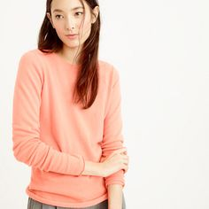 J.Crew - Collection Italian cashmere long-sleeve T-shirt - in HEATHER FLANNEL, size Small