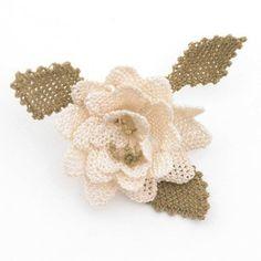White Rose Brooch, oya, needle lace