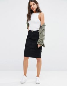 Image 1 of River Island Denim Midi Pencil Skirt