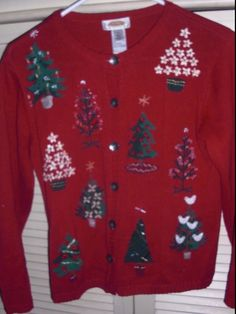 1afefc0c4e9 Talbots Ugly Cute Christmas Sweater Cardigan Petite Size Small Red