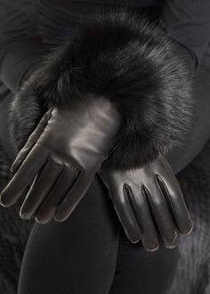Leather Glove with Fox Cuff Fur Clothing, Mitten Gloves, Fox Fur, Leather, Shopping, Clothes, Collection, Outfits, Clothing