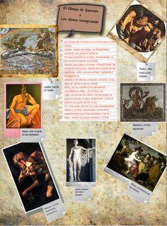 """Glog elaborado por Dolo. Me encanta el título  con el que lo ha bautizado: """"El Olimpo de Quevedo o los dioses trompicando"""". A partir del texto """"La hora de todos y la Fortuna con seso"""" ocupando el centro del póster, pivota una serie de personajes mitológicos que tienen relación con el fragmento elegido por ella."""