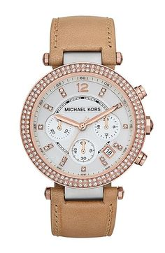 Free shipping and returns on MICHAEL Michael Kors Michael Kors 'Parker' Chronograph Leather Watch, 39mm at Nordstrom.com. Gold plating and neutral-hued leather beautifully combine in a sophisticated round watch brightened by a bevy of sparkling crystals.
