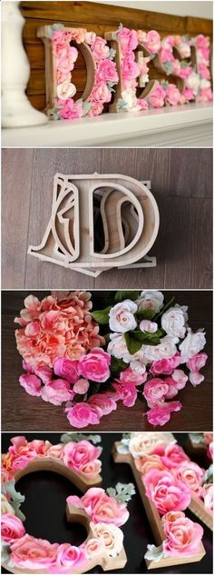 DIY Rustic Letters With Flowers: A wood sign with flowers that says DESIGN! It is perfect for a teen girls bedroom decor!