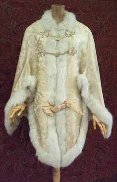 Satin damask mantle trimmed with fur, 1870s, from the Vintage Textile archives.