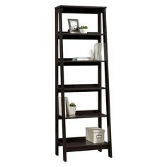 5-Shelf Trestle Bookcase Espresso