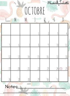 - OCTOBRE 2015 - Imprimes le calendrier pour customiser ton agenda. A voir: vidéo sur ma chaîne!