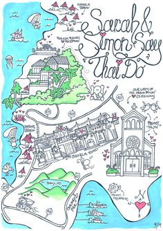 Whimsical Custom Wedding Map/ Invitation by DesignerMapsByZoe, £125.00