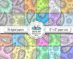 PASTEL PAISLEY  Digital paper pack  Scrapbook Paper  by DigitalBay
