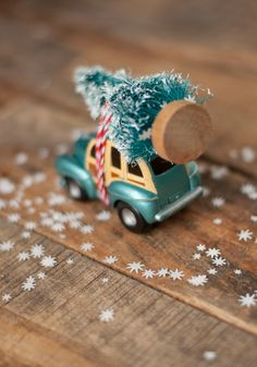 Images of cute cars with trees tied on top with quiet snow falling all around make it on my list of favorite Christmastime images behind shots of Christmas lights, children's faces illuminated by Christmas lights, cups of hot beverages and outdoor winter scenes. Animals wearing antlers and Rudolf noses comes in at number six. :) …