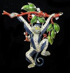 Trifari 'Alfred Philippe' Pave and Enamel Monkey Swinging from A Branch Pin Clip | eBay