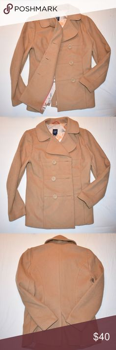 GAP beige pea coat Worn a couple of times but in great condition. No tear or stain. It says size XS but I'm size small and it fits perfectly. It come with two extra buttons (last pic) GAP Jackets & Coats Pea Coats