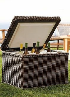 The Ocean Gray Ice Chest is a stylish upgrade to a traditional outdoor cooler that doubles as a decorative piece to compliment your outdoor space.