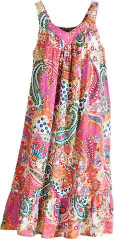 Paisley-and-floral sleeveless cotton nightgown is fresh and bright and will keep you cool on those hot summer nights. Easy wear, slip-on style with ruffled hem.