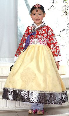 What a lovely smile. This girl is wearing a traditional Korean Hanbok dress for girls.