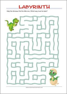 Dinosaur maze easy age 35 Mazes for kids printable