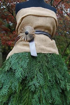 Holiday Ladies...using burlap and cedar flock the cedar and use white burlap and add wings great idea for yard deco