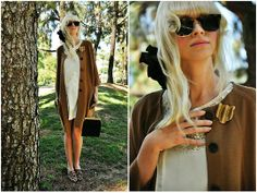 Mod Cloth Fancy Treehouse Dress, Steve Madden Loafers, A.P.C. Tiger Pin, H&M Sweater