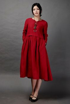 Just a Dream-Dark red long linen dress(more colour and size choice) -A1037. , via Etsy.