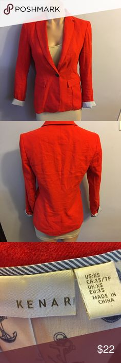 Lenard red blazer Xs women's one button Euc You are purchasing a women's kenar blazer. The size is Xs.please see pictures for overall condition of blazer. Kenar Jackets & Coats Blazers