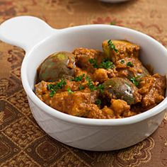 You can substitute the eggplant with zucchini or portabello mushrooms that are simmered in a rich coconut peanut masala for a delicious vegan Indian main dish.