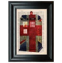Tardis Art Print, Union Jack Flag, Doctor Print, Dr. Tardis, Tardis