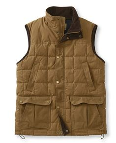 LL Bean Upcountry Waxed-Cotton Down Vest  (Color: Dark Khaki, Size: Large)
