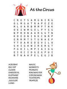 At the circus word search, one of the word search puzzles in our printable book  - Word Searches for Kids.  Find the words from acrobat to trapeze.
