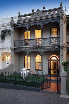 Trendy Ideas For House Facade Terrace Terrace House Exterior, Victorian Terrace House, Facade House, Victorian Homes, Wall Exterior, Australian Architecture, Australian Homes, Melbourne House, Terraced House