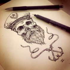 awesome beard art beards bearded man men nautical sailor anchor anchors tattoos tattoo idea ideas skull skulls skeleton artwork flash sketch illustration by David O'Hanlon Future Tattoos, New Tattoos, Tatoos, Hand Tattoos For Guys, Arabic Tattoos, Maritime Tattoo, Tattoo Homme, Beard Art, Totenkopf Tattoos