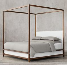 RH Modern's Montrose High Panel Canopy Bed:Inspired by the streamlined glamour of the late century, our four-poster bed pairs a sleek, bronze-finish metal frame with a padded headboard for a clean, angular silhouette. Wood Beds, Metal Beds, Canopy Bedroom, Master Bedroom, Canopy Beds, Pvc Canopy, Wooden Canopy, Backyard Canopy, Door Canopy