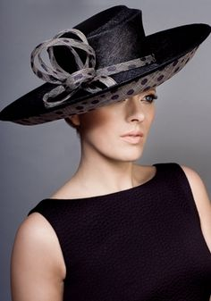 bb95cfce294 Rachel Trevor Morgan Millinery - Fine straw sidesweep with spot straw  underbrim Hat Making