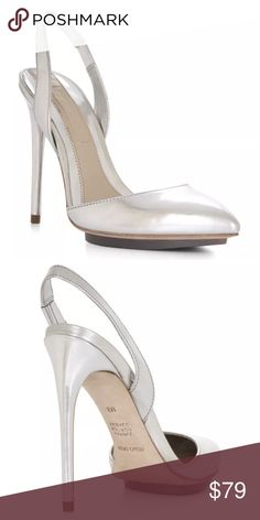 """NWT BCBG MAXAZRIA Shoes BOX Silver Sling Bck Pumps Brand new in BCBG MAXAZRIA box. Show-stopping look of the moment, SILVER. These leather (uppers and soles,) sling back pumps will put the finishing look of sexy on you with a 4.25"""" heel. BCBGMaxAzria Shoes Heels"""