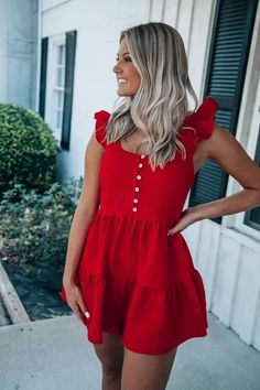 So This Is Love Romper: Tomato