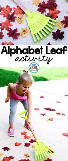 Alphabet Leaf Activity encourages toddlers, and preschool and kindergarten students to get up and move while learning. This is the perfect addition to a fall literacy center. by matilda Fall Preschool Activities, Preschool Literacy, Alphabet Activities, Toddler Activities, Preschool Fall Theme, Kindergarten Themes, Abc Alphabet, Preschool Printables, Kindergarten Reading