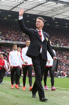 Dutchman Louis van Gaal waves to the Old Trafford faithful prior to @manutd's match with QPR in September 2014.