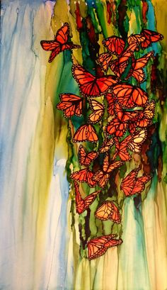 Butterfly congregation in alcohol ink my me! Laurie Henry