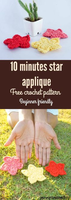 make this easy star applique in 10 minutes with easy to follow very detail photo tutorial free crochet pattern by jennyandteddy