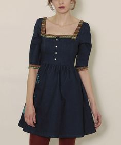 Take a look at this Denim Blue Pompon Alondra Dress by Titis Clothing on #zulily today!