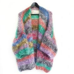 knitted multi-colored sweater – Loving Crafts You are in the right place about loom Knitting Here we offer you the most beautiful pictures about the. Knitwear Fashion, Knit Fashion, Knitting Blogs, Knitting Patterns, Crochet Cardigan, Knit Crochet, Pull Mohair, Knit World, Creative Knitting