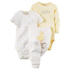 """Carters Neutral 3 Piece Yellow Stripe """"I Love Mommy"""" and Duck Print Bodysuits with Duck Applique Turn Me Around Pant Set - Carters  - Babies""""R""""Us"""