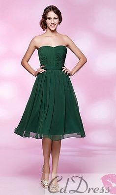 Directsale Bridesmaid Dress Cocktail Party/Homecoming/Holiday/Wedding Party Dress A-line/Princess Strapless/Sweetheart Knee-length Chiffon Dress Free Measurement Cheap Cocktail Dresses, Cocktail Dresses Online, Cheap Formal Dresses, Formal Evening Dresses, Strapless Dress Formal, Chiffon Dress, Vestidos Plus Size Verde, Wedding Party Dresses, Bridal Dresses