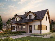 Projekt bliźniaka Eco 25 o pow. z dachem dwuspadowym, z tarasem, sprawdź! Gable House, Malm, Home Fashion, Mansions, House Styles, Home Decor, Mansion Houses, Homemade Home Decor, Villas